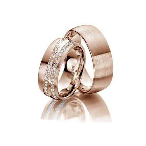 Je t'aime Exquisite 333 Rot Gold Trauringe mit Diamanten