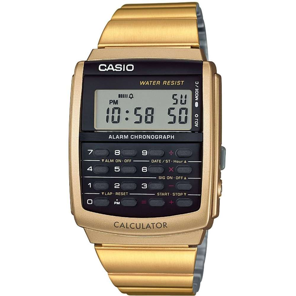 Casio Gelbgold Digitaluhr Taschenrechner Uhr zurück in die Zukunft