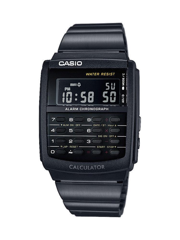 Casio schwarz Digitaluhr Taschenrechner Uhr zurück in die Zukunft