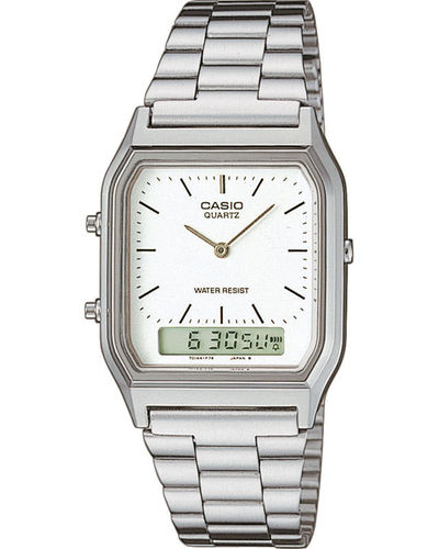 Casio Retro weiß dual Digital Analag Uhr