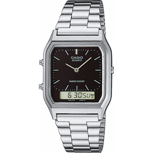 Casio Retro schwarz dual Digital Analag Uhr