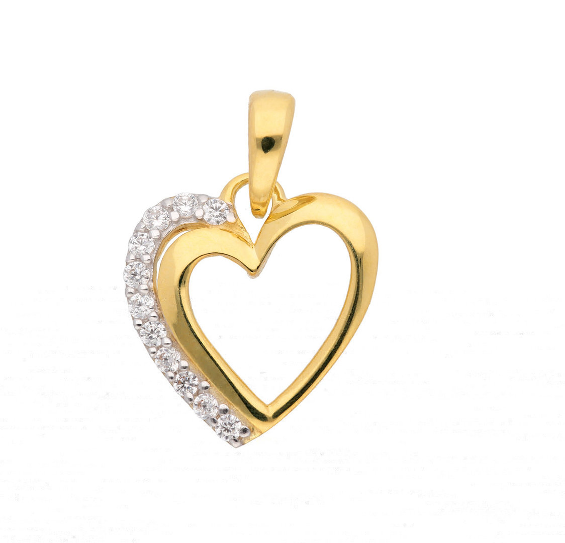 Herz Anhänger aus 333 Gold mit Zirkonia Steinchen - jetzt