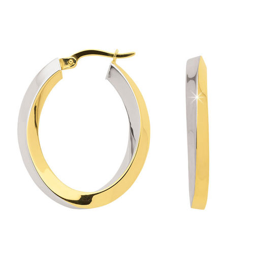 Creolen bicolor oval 28 mm aus 333 Gold
